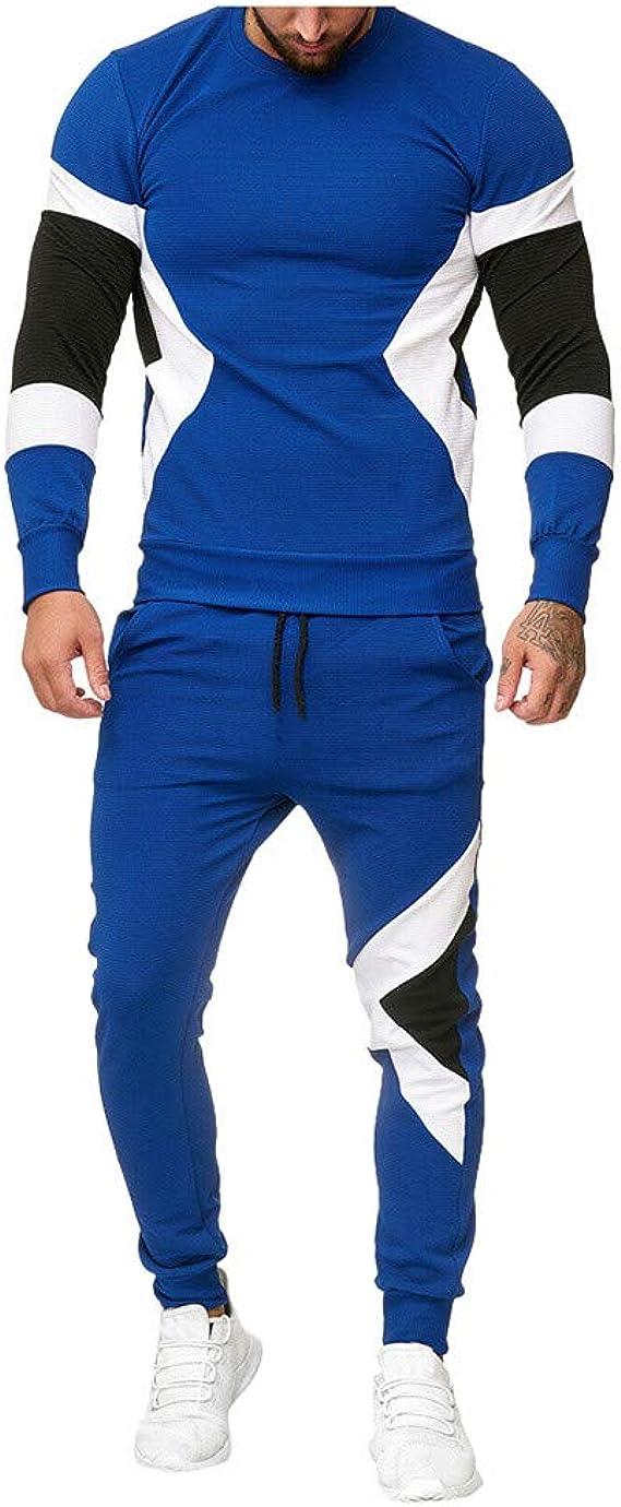 Mxjeeio Chándal para Hombre, Moda Casual otoño e Invierno chándal Completo Chándal Jerséis Patchwork Slim Fit Conjunto para Hombre Manga Larga + Pantalones Deportivos Conjuntos: Amazon.es: Ropa y accesorios