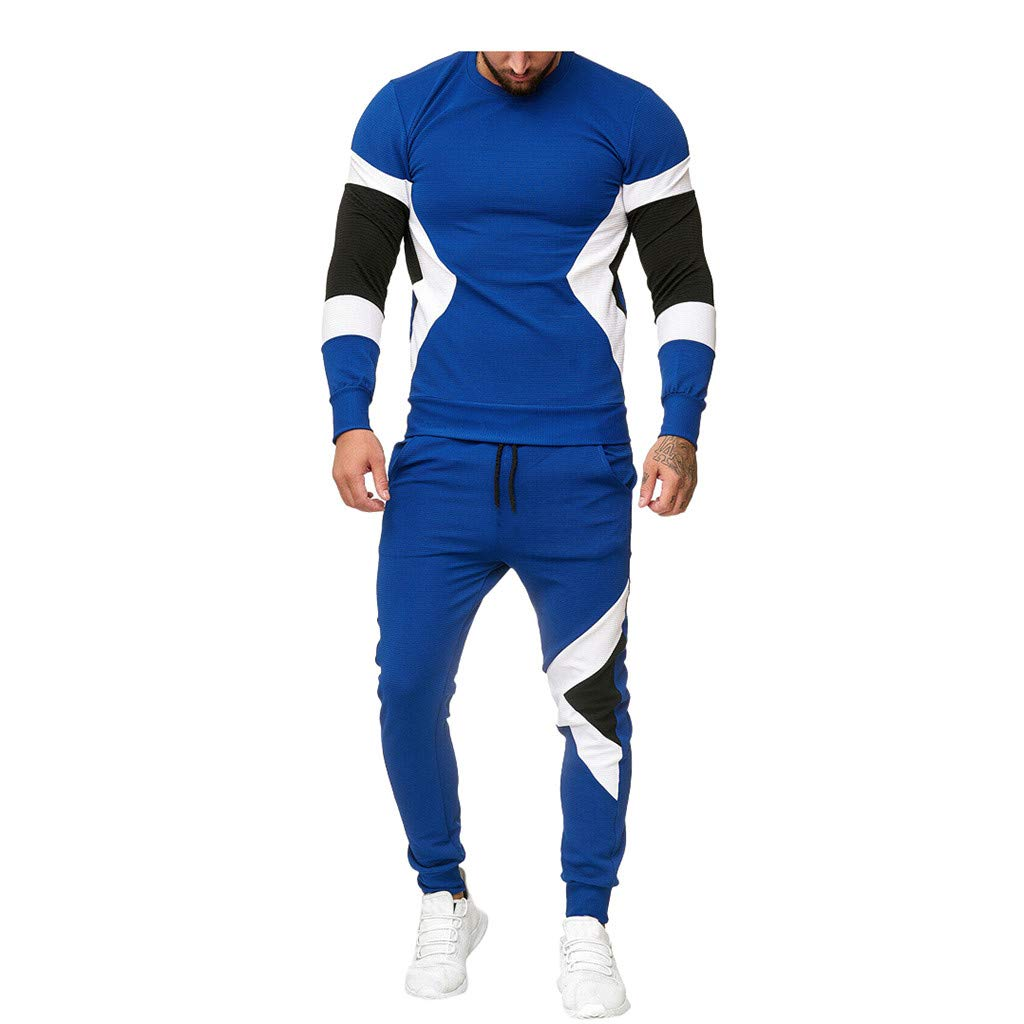 Mens Track Suits 2 Piece Outfits Long Sleeve Sweatshirt Pullover T Shirt Color Block Joggers Pants Set Pockets Casual Workout Sweat Suits Activewear by Armfre Two-Piece-Outfit