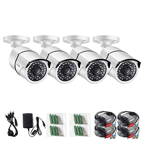 ZOSI 4 Pack 2.0MP HD 1080p 1920TVL Bullet Outdoor/Indoor Security Camera (Hybrid 4-in-1 HD-CVI/TVI/AHD/960H Analog CVBS),36PCS LEDs,100ft IR Night Vision,Weatherproof Surveillance Camera White