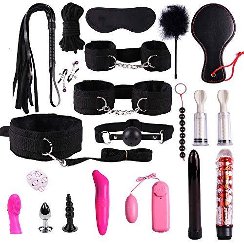 Black 20 Pieces B-D-S-M Toy Women Hot Suit Nylon Kit Costume Accessory Set for Cosplay Restraints Clothes]()