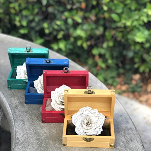 Book Page Paper Rose in a Wood Chest - Choose Your Color