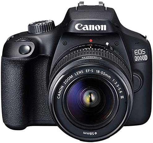 Canon EOS 2000D / Rebel T7 Camera with EF-S 18-55mm f/3.5-5.6 III Lens (Black) + 16GB Memory Card + Pixi Basic Accessories