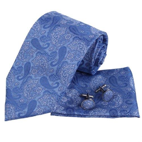(Epoint PH1031 Blue Pattern Silk Neckties for Man Gifts Ties Cufflinks Handkerchiefs Valentines Gift)