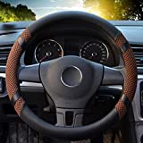 "Image of Leather Steering Wheel Covers for women,14.56-14.96"",for Honda/Toyota Vehicles,Coffee,M"