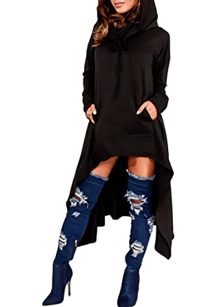 a29fc568c Womens Autumn Irregular Hem Jumper Long Sleeve Hooded High Low Tunic Sweatshirts  Dress Oversized Tops Shirt
