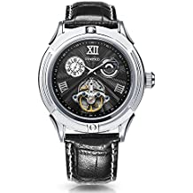 Time100 Mens Classic Business Mechanical Watch Fashion Self-Winding Automatic Watch for Men (Black)