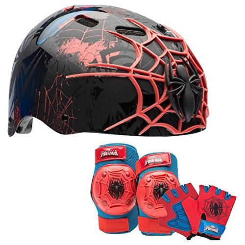 Marvel Spiderman Kids Skate / Bike Helmet Pads & Gloves - 7 Piece Set