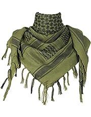 JFAN Men's Scarf Military Shemagh Tactical Desert Keffiyeh Head Neck Scarf Cotton Arab Wrap with Tassel