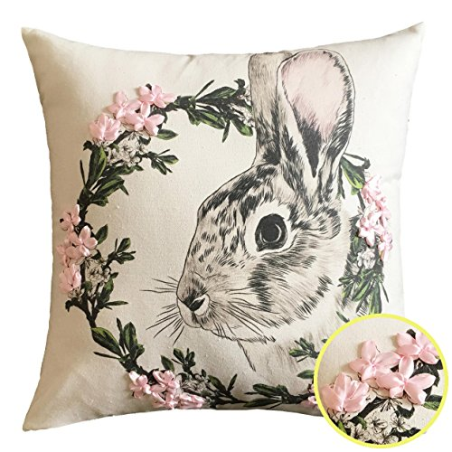 Cassiel Home Happy Easter Throw Pillow Covers 18x18 Easter Pillow Covers Decorations with Handmade Silk Ribbon Cute Rabbit 3D Flowers Wreath Spring Gift