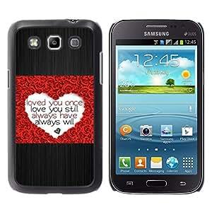 Caucho caso de Shell duro de la cubierta de accesorios de protección BY RAYDREAMMM - Samsung Galaxy Win I8550 I8552 Grand Quattro - Love Heart Rose Brushed Metal Valentines