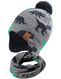 Duoyeree Kids Beanie Hat for Boys Girls Pom-pom Kint Hats Cozy Lining Winter Skull Cap (Dinosaur Hat and Scarf Set, 4T-7T)
