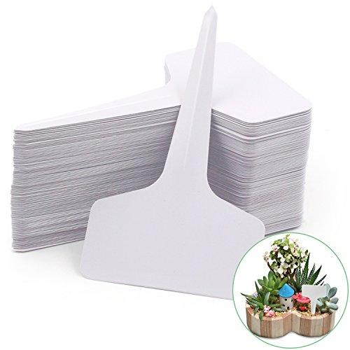 Prudance 100pcs PVC Waterproof T Tag Plant Markers - Premium Nursery Garden Labels - Eco Friendly - White - Pvc Labels
