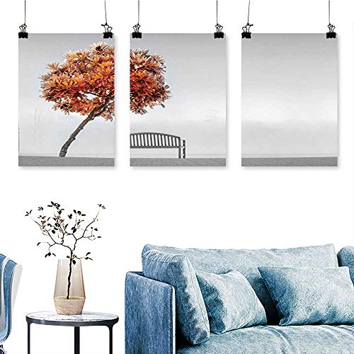 (SCOCICI1588 3-Piece Triptych Pagoda Tree Bending Over Bench in The Park Area Serene for Wall Decor Home Decoration No Frame 24 INCH X 47 INCH X 3PCS)