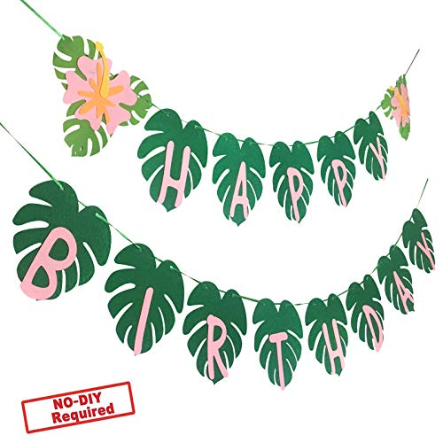 Party Nice Hawaiian Party Happy Birthday Banner for Tropical Luau Party Palm Leaf Decorations ()
