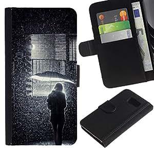 All Phone Most Case / Oferta Especial Cáscara Funda de cuero Monedero Cubierta de proteccion Caso / Wallet Case for Samsung Galaxy S6 // Girl Umbrella Street Deep Meaning
