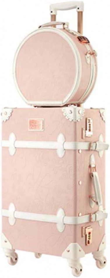 XDDJH Retro 26 Pulgadas Spinner Rolling Luggage Set Cute Pink Bolsa de Viaje Trolley Mujeres Maleta Ruedas Vintage Cabin Trunk
