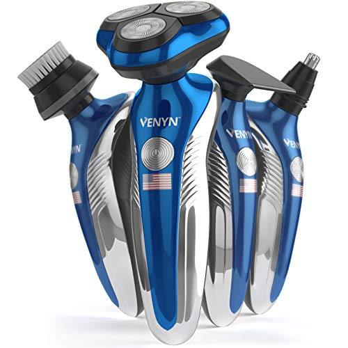 Venyn 4 In 1 Richor Rotatory Electric Shaver - Works for Wet, Dry Beard - Body Hair Trimmer - Water Resistant -Cordless Face Cleaner (Best Men's Body Razor)