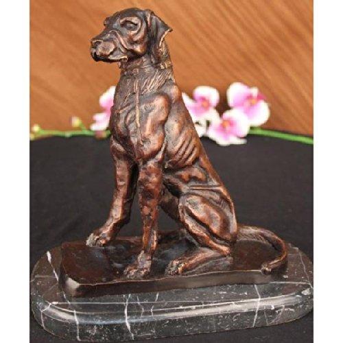 DETAILED MARBLE BRONZE SCULPTURE HOUND DOG BY MOIGNIEZ FIGURINE ART