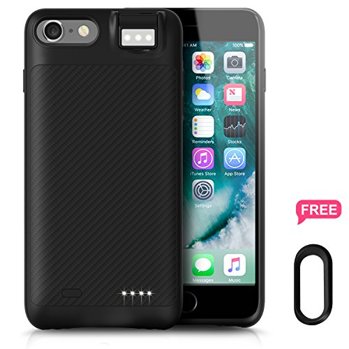 iPhone 8 Plus/7 Plus 6/6s Plus Battery Case, Ronten Charging Case: 3800mAh Ultra Slim iPhone Rechargeable Extended Battery Juice Pack with Fill Light for iPhone 8 Plus 7 Plus 6S Plus 6 Plus (Black) from Ronten