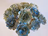 Scalloped World Atlas Roses, 1.5'' Paper Flowers on Stems, One Dozen, Travel Theme Birthday Party Decor, Wedding Decor, Bridal Shower Centerpiece, Map Flowers