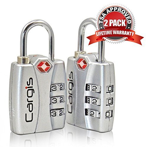 Cargis TSA Approved Luggage Locks. Heavy Duty Personalized Combination Travel Lock with Open Alert and Lock Safe Protection (2 Pack). (Lock Instructions Tsa)