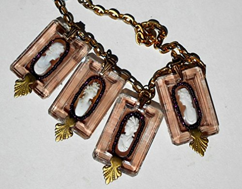4 Victorian Hand Carved Shell Cameos with Victorian Hair Do & Tunic Tops. In Glass Buckle Frames with Brass Art Deco Accents Necklace. One of a - Frames Glasses Oblong