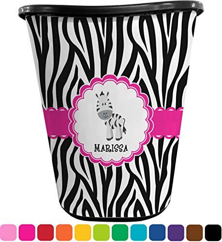 RNK Shops Zebra Waste Basket - Single Sided (Black) (Personalized) by RNK Shops