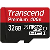 Transcend 32GB MicroSDHC Class10 UHS-1 Memory Card with Adapter 60 MB/s (TS32GUSDU1)