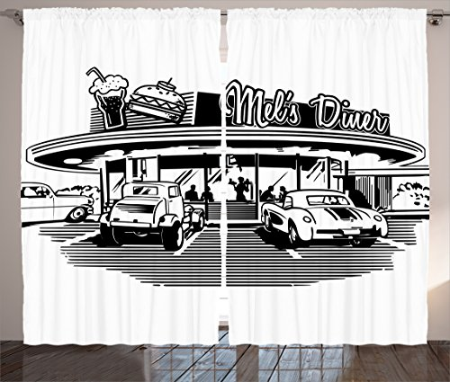 Curtains Ambesonne Nostalgic Illustration Restaurant