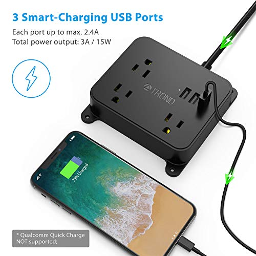 Power Strip with USB TROND Wall Mountable Outlet Extender with 3 USB Ports 3 Widely Spaced Outlets Flat Plug 45ft Extension Cord for Cruise Ship Hotel Nightstand Office
