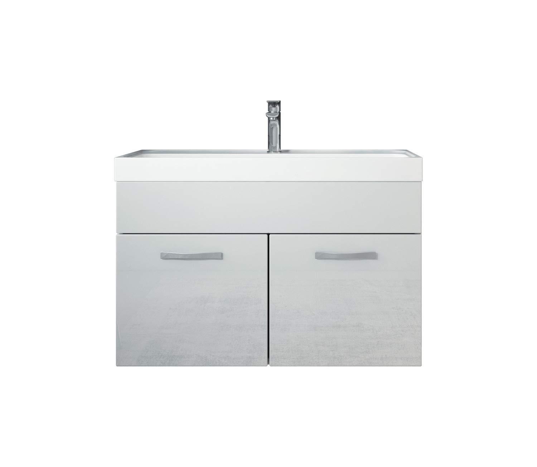 Badezimmer Badmöbel Set Paso 01 01 01 80 cm Waschbecken Hochglanz Weiß Fronten - Unterschrank Schrank Waschbecken Waschtisch 425309