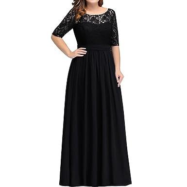 Pandorawedding Womens 2018 Plus Size Waist Lace Evening Dresses Prom Dresses Slim Long Sleeves Elegant Bridesmaid