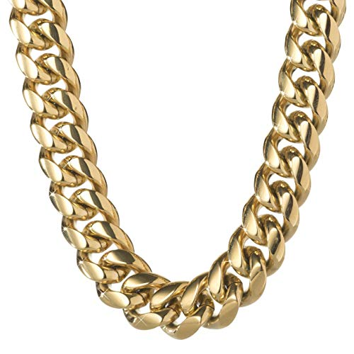TRIPOD JEWELRY Heavy Thick Men's Hip Hop Miami Cuban Link Chain Choker/Bracelet -14K Gold/White Gold Plated Stainless Steel Cuban Link Chain Necklace 10mm,12mm,14mm,16mm (14K Gold 10mm, 24.00)