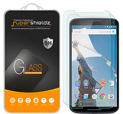 [2-Pack] Supershieldz for Nexus 6 Tempered Glass Screen Protector, Anti-Scratch, Anti-Fingerprint, Lifetime Replacement Warranty