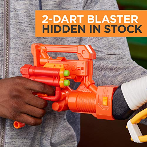 51mdn2FrM%2BL - Scravenger Nerf Zombie Strike Toy Blaster with Two 12-Dart Clips, 26 Darts, Light, Barrel Extension, X 40Mm, Stock, 2-Dart Blaster - For Kids, Teens, Adults