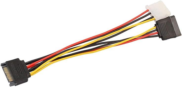 Multicolore SATA Femmina Cavo di Alimentazione 18AWG 1 a 2 Linea di Alimentazione per Scheda Madre e Disco Rigido 15 Pin SATA Maschio a 4 Pin IDE Molex Femmina