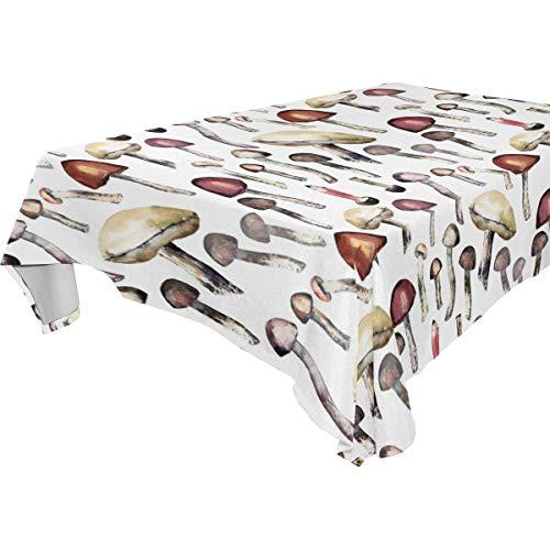 Decorative Table Cloth Hand Painted Wild Mushroom Pattern Dining Room Kitchen Rectangular Fabric Table Cover 54 x 72 Inches Party - Hand Painted Dining Room