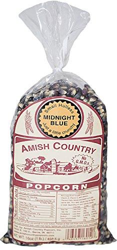 Amish Country Popcorn - Midnight Blue (1 Pound) Premium Popcorn - Old Fashioned, Non GMO, Gluten Free - with Recipe Guide
