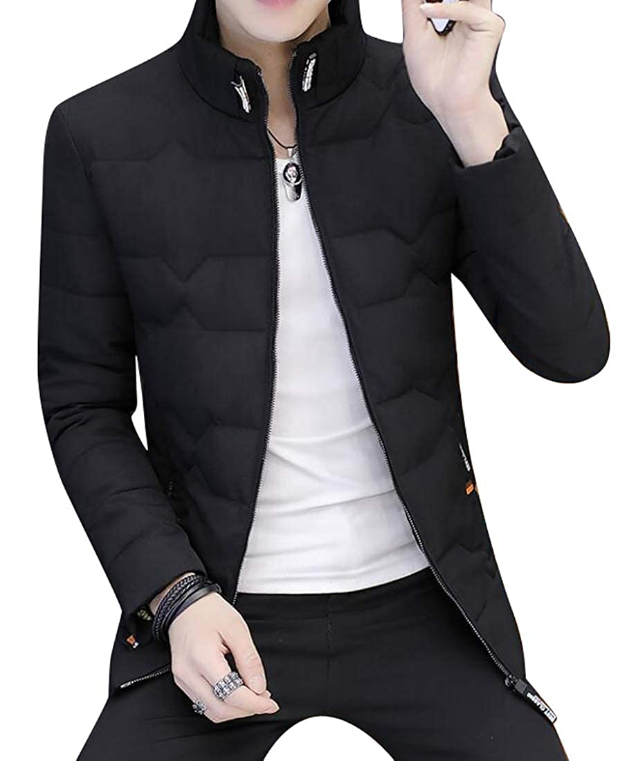 DFBB Mens Cotton Winter Quilted Stand Collar Warm Zip Front Down Jacket