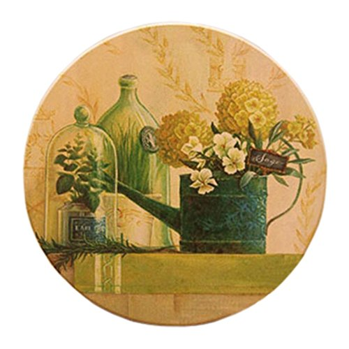 Countryside Ceramic Cup Tray Round shape Coffee Cup Mat Potholder, Set of 4