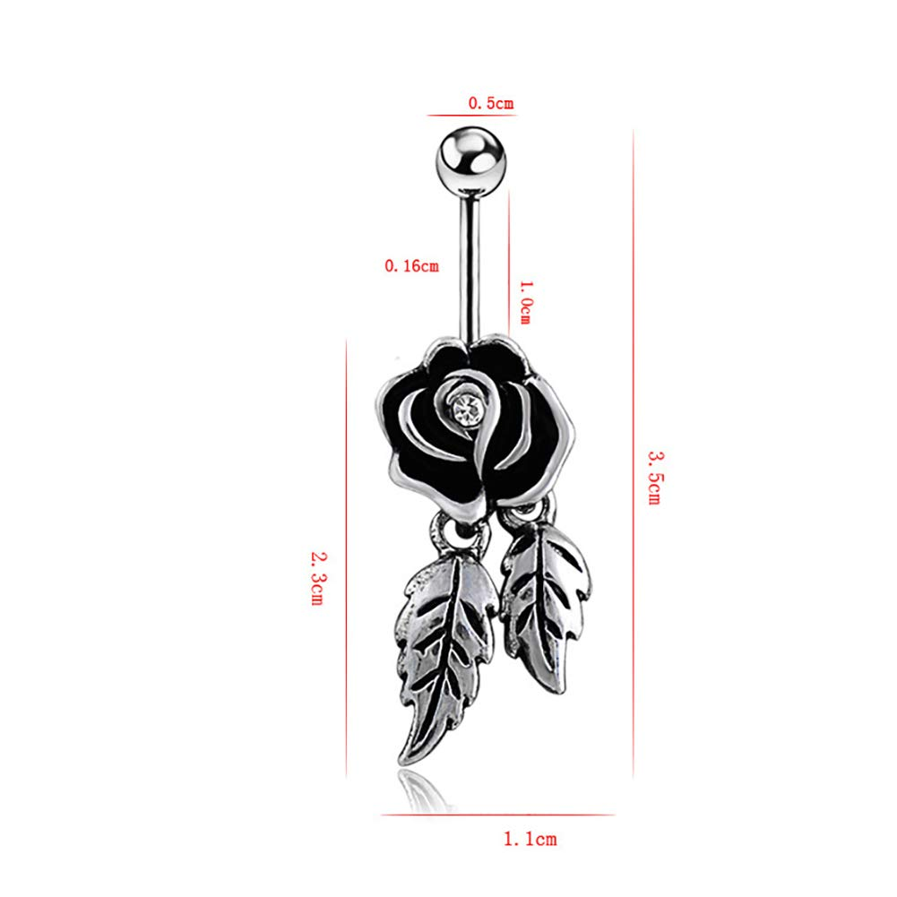 SoundsBeauty Bar Belly Button Navel Ring Rhinestone Inlaid Antique Silver Rose Drop Body Piercing Jewelry Gift