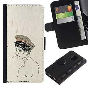 Paccase / Billetera de Cuero Caso del tirón Titular de la tarjeta Carcasa Funda para - Soldier Army Smoke Naked - Samsung Galaxy S5 V SM-G900
