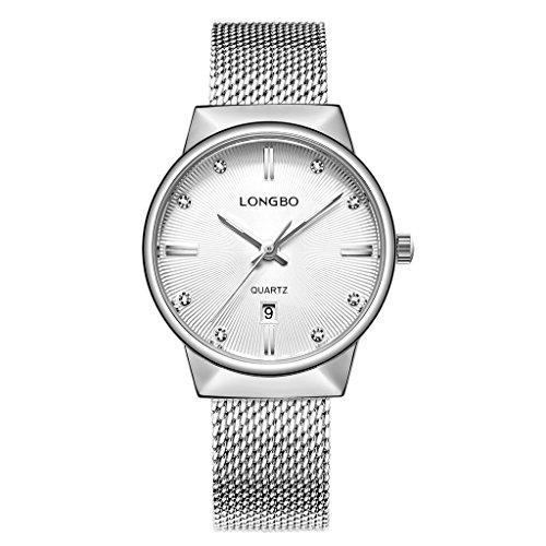 (LONGBO Luxury Women's Silver Metal Mesh Strap Analog Quartz Business Watch Auto Date Calendar Couple Dress Watch Waterproof Rhinestone Accented Dial Wristwatch for Woman)