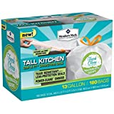 Member's Mark Tall Kitchen Simple Fit Drawstring with Fresh Clean Scent 13 Gallon Bags 180 ct