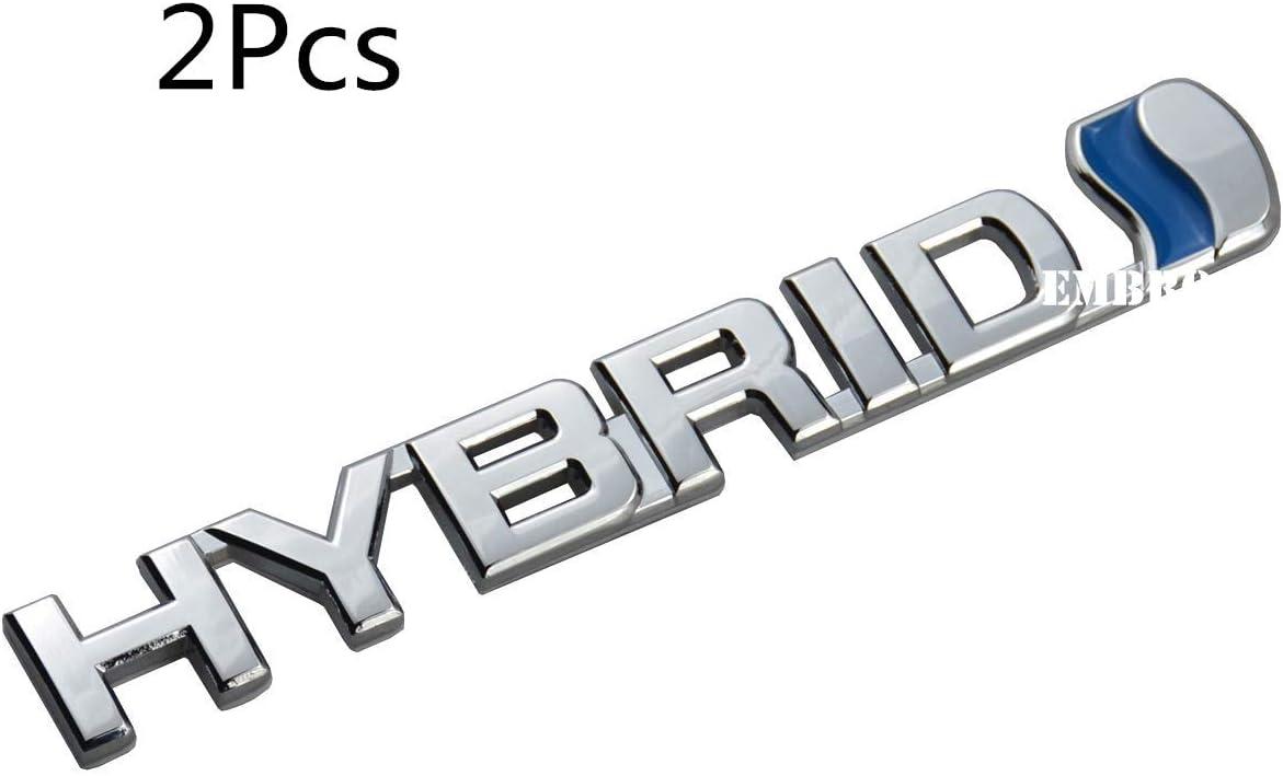 2 Pack 3D Metal HYBRID Logo Car Side Fender Rear Trunk Emblem Badge Decals Sticker for Universal Car Chrome//Blue