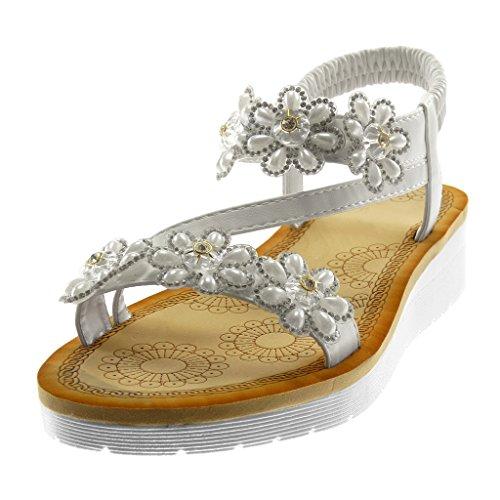 Moda Zapatillas Blanco Angkorly on De Tanga Correa Flores Strass Cm Mujer 3 Tobillo Plataforma Slip Sandalias 5 U5dRdaq