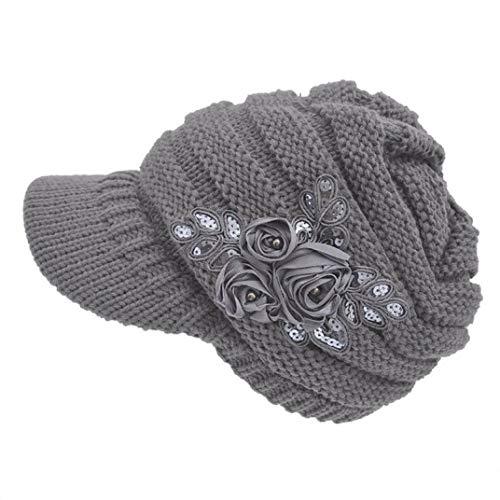 GODIWAN Women's Cable Knit Visor Hat with Flower Accent boina Feminina Hats for Women chapeu Feminino - Embroidered Visor Tiger