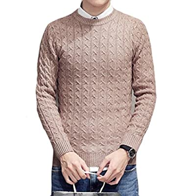 1481db128a1 ainr Men s Crew Neck Long Sleeve Solid Color Slim Fit Cable Knit Pullover  Sweater