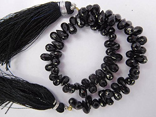JP_BEADS 4X6-6X10 Mm Black Spinel Faceted Top Drill Tear Drop Beads 8