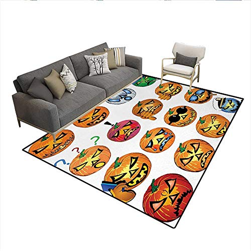 Carpet,Carved Pumpkin with Emoji Faces Halloween Inspired Humor Hipster Monsters Artwork,Customize Rug Pad,OrangeSize:6'6
